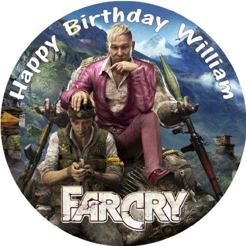 FARCRY PERSONALISED ROUND BIRTHDAY CAKE EDIBLE TOPPER